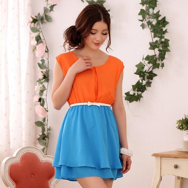 orange och himmelblå bälte färg block mini chiffong klänning