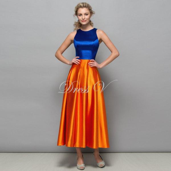 blå och orange sidenfärgad maxiklänning med passform och flare