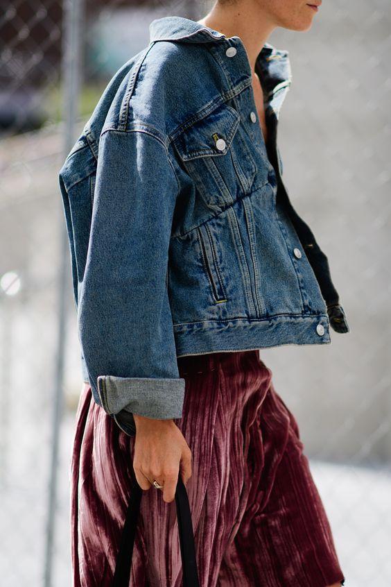 Jeansjacka med sammet kjol
