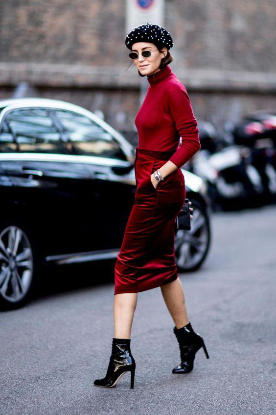 Röd rubin sammet kjol