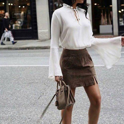 Sammetskjol brun mini