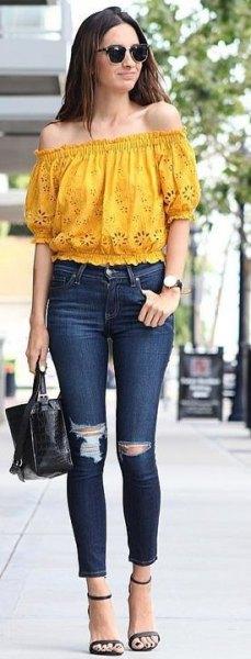 Senapsgult från toppen av axeln med smala jeans