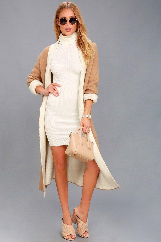 vit turtleneck klänning brun