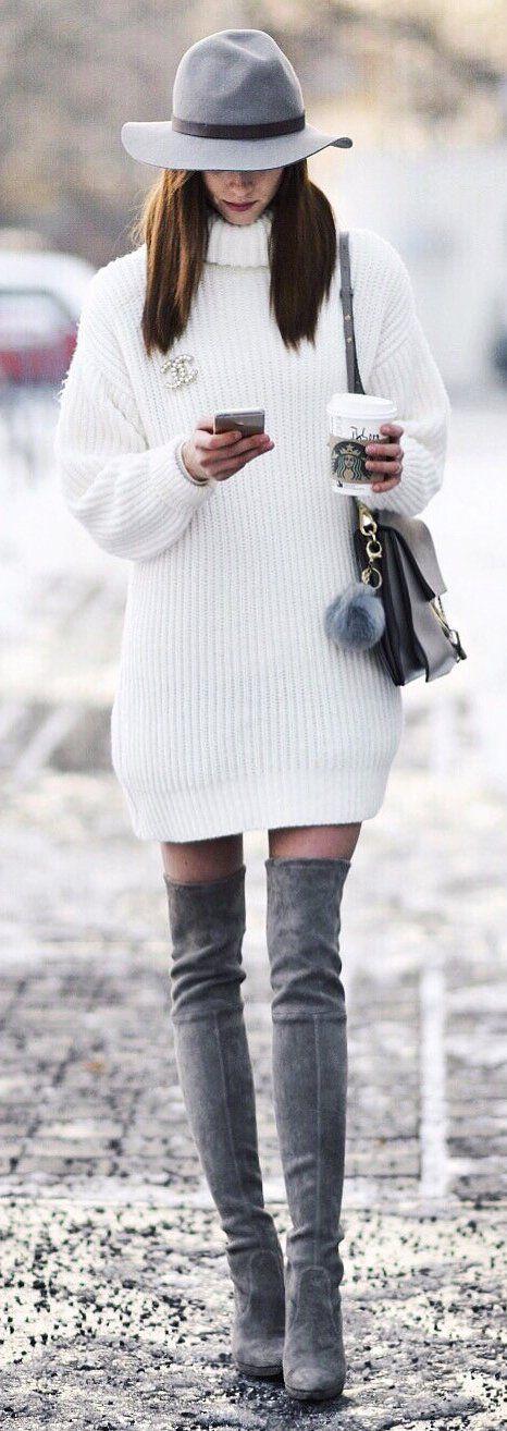 vit turtleneck klänning grå kombination