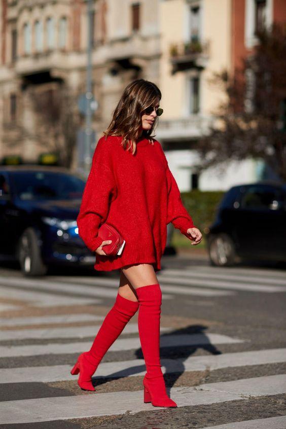 Stickad tröja klänning röda tår
