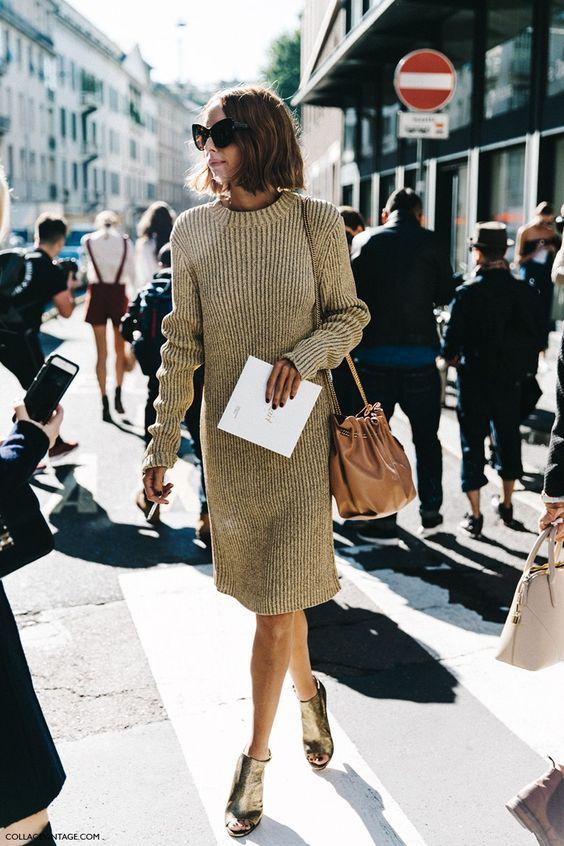 Stickad tröja klänning kamel