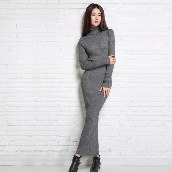 grå turtleneck maxiklänning svarta läderstövlar