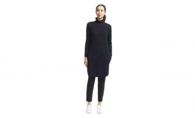 svart cashmere tröja klänning läderbyxor