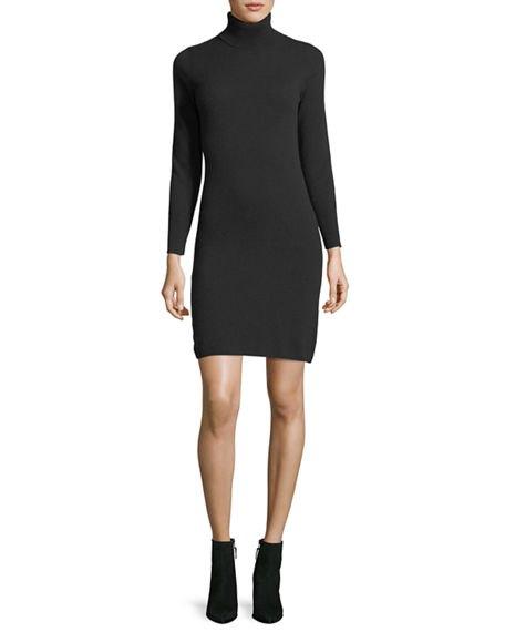svart turtleneck cashmere mini klänning läder ankel stövlar
