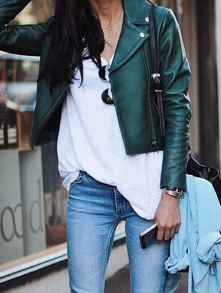 kort läderjacka grön