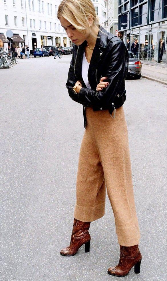 kort läderjacka bruna byxor