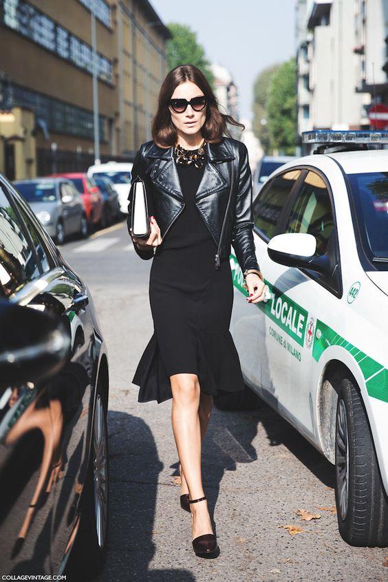 kort läderjacka svart klänning
