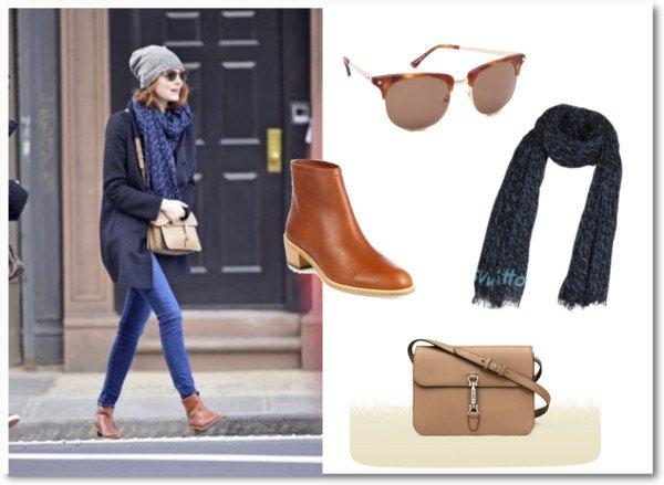 svart långfärgad kofta med blå halsduk och ljusbrun handväska i mjukt läder