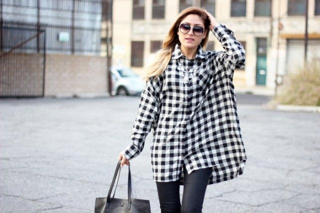 svartvita rutiga tunika läderjackor