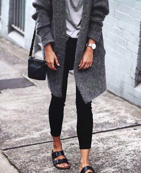 svart Birkenstocks grå tröja