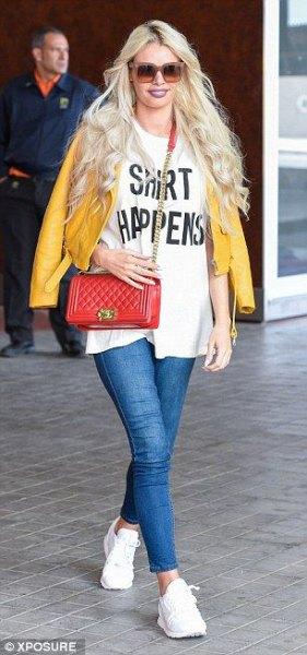 vita skinny jeans med oversize-tryck