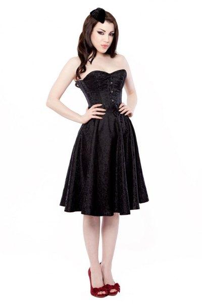svart knälång korsettklänning