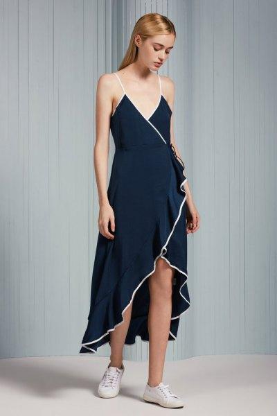 Marinblå spaghettiband Maxi High Low Ruffle Wrap Dress