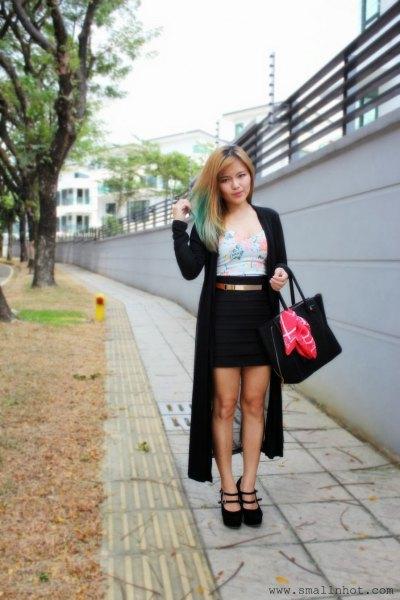 svart maxi kofta grå väst topp penna kjol