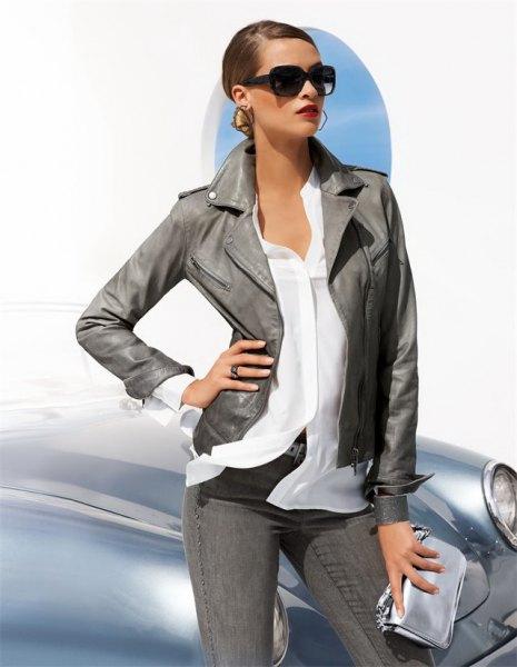 vit chiffongskjorta grå skinny jeans