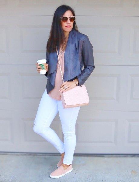 rodnad rosa blus vita skinny jeans