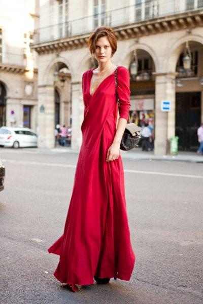 röd wrap maxiklänning outfit