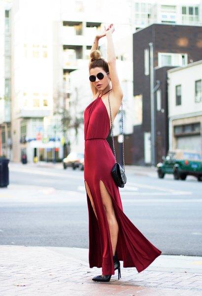 röd bodycon hög split klänning