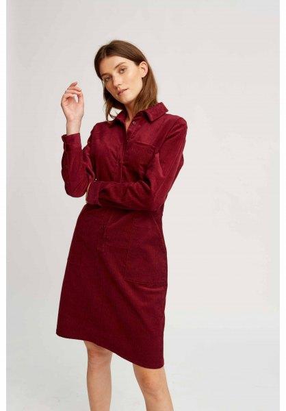 brun corduroy skjorta i matchande pennkjol