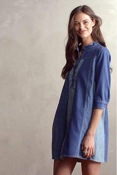 mörkblå tunika klänning med jeans patch