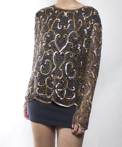 gul och svart broderad glittrande skjorta med minikjol