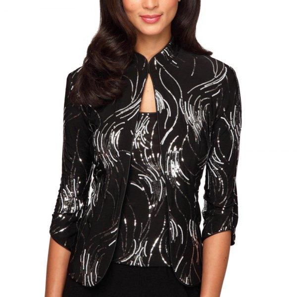 mousserande skjorta i svart och silver med matchande linne
