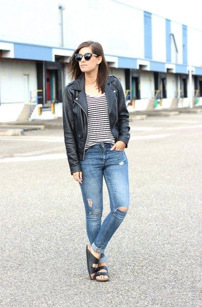 Slide sandaler svart läderjacka rippade jeans