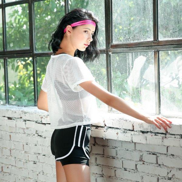 Kortärmad mesh-topp sport-bh-shorts