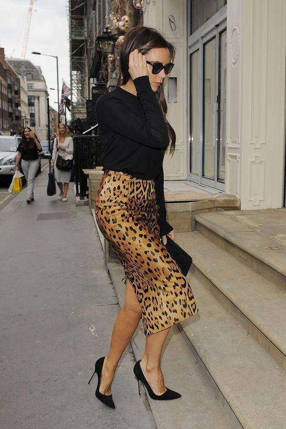 Victoria Beckham leopardmönstrad kjol