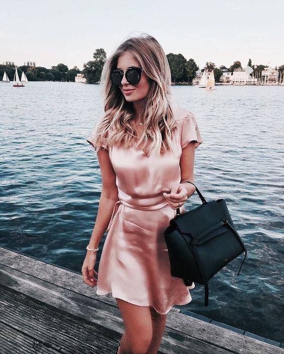 rosa satin klänning mini