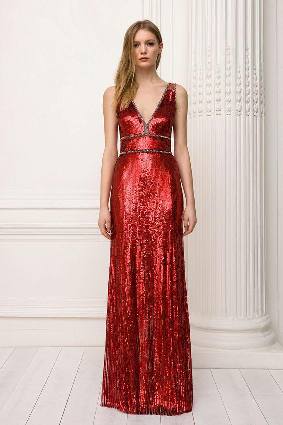 röd paljettklänning lång special