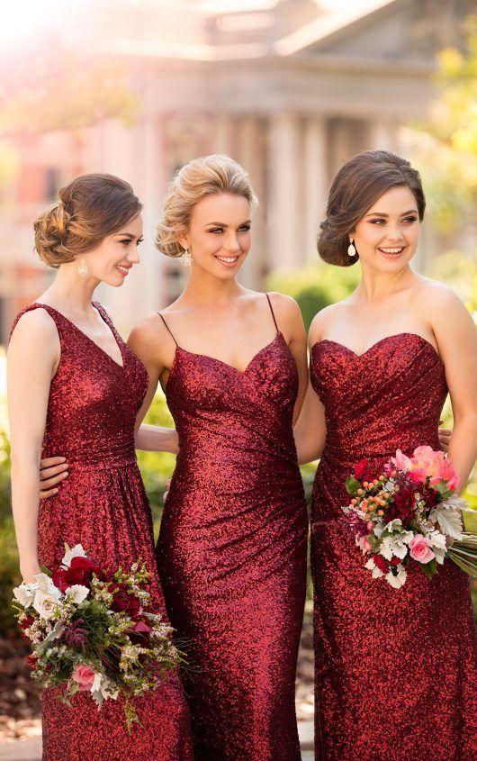 röd paljett brudtärna klänning