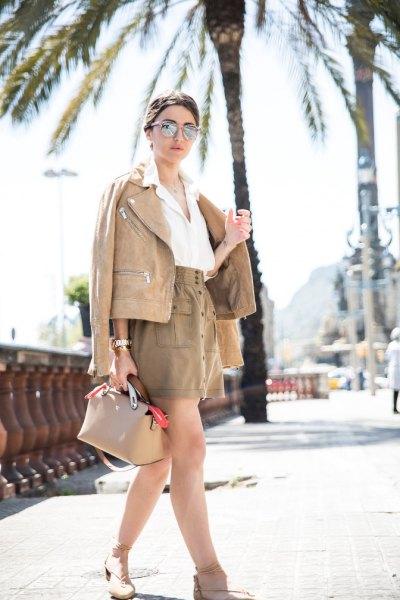 brun läderjacka outfit