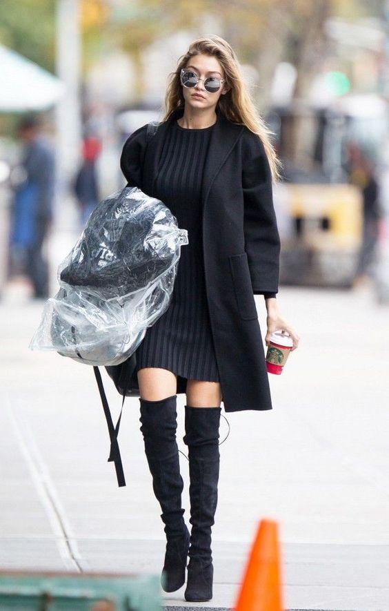 svart stickad klänning Gigi