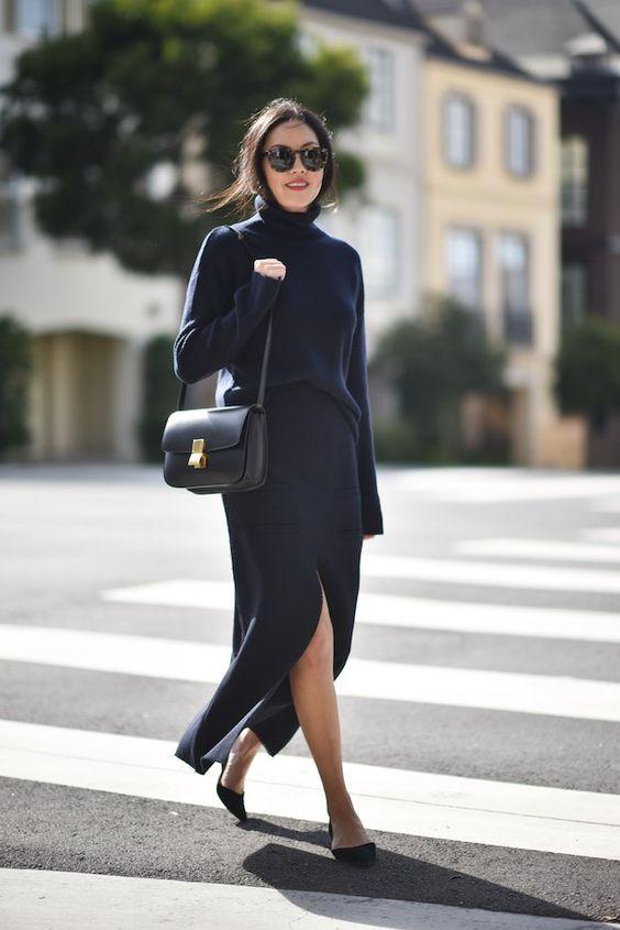 svart stickad klänning slits