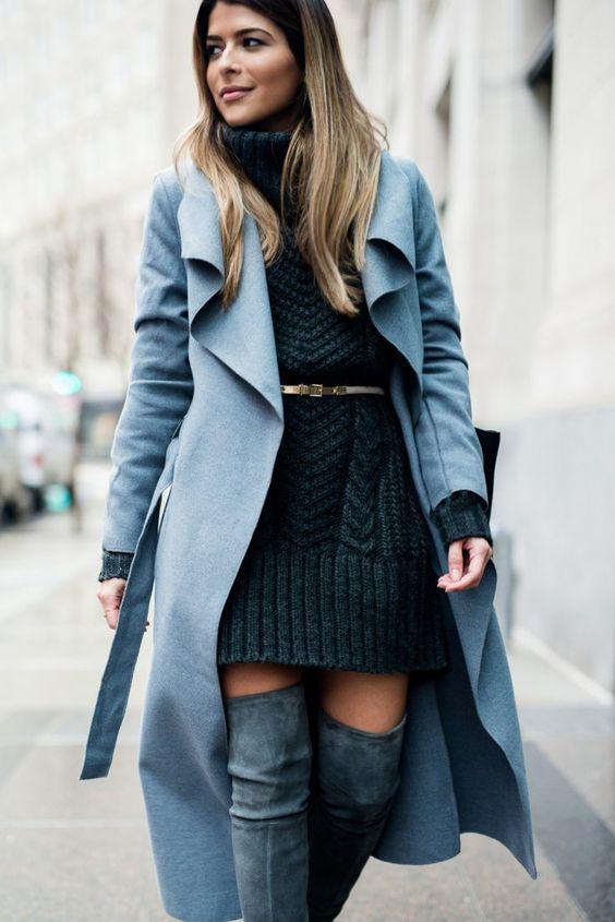 svart kabel stickad klänning
