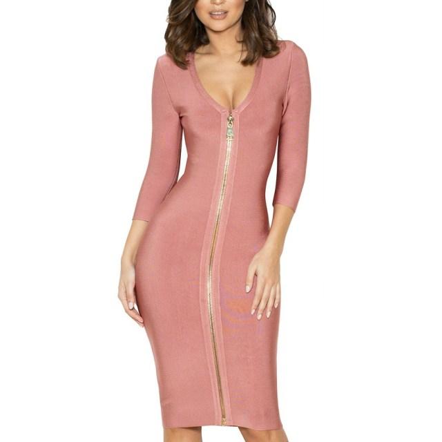 rosa bandage klänning med dragkedja