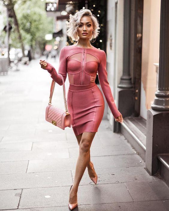 rosa bandage klänning halsringning