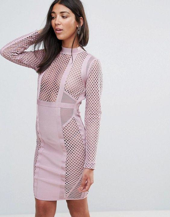 rosa bandage klänning mesh paneler