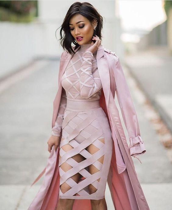rosa bandage klänning klippt ut