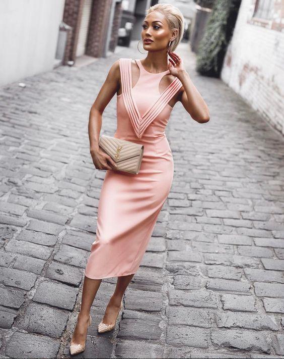 rosa bandage klänning tank bodice