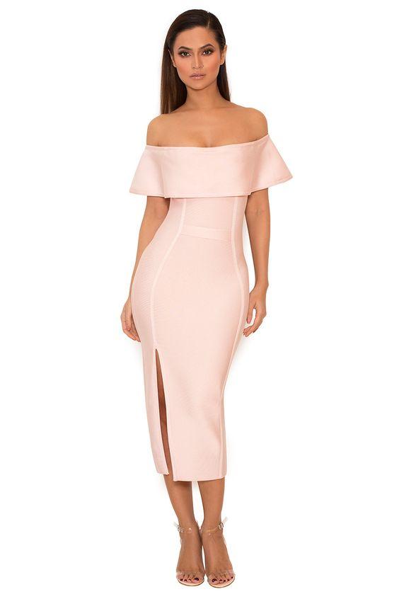 rosa bandage klänning från axlarna