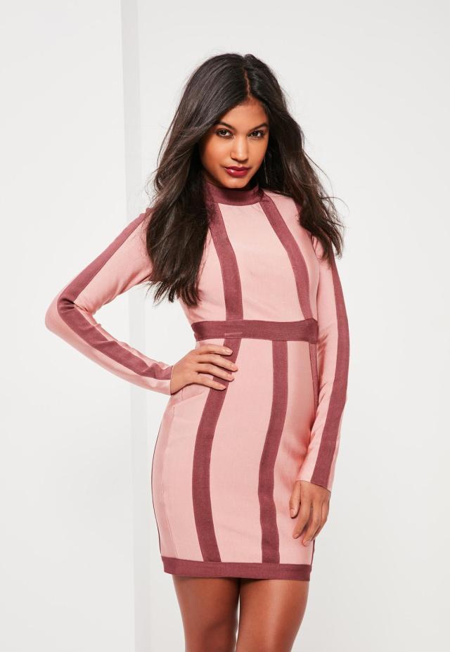 rosa bandage klänning ränder
