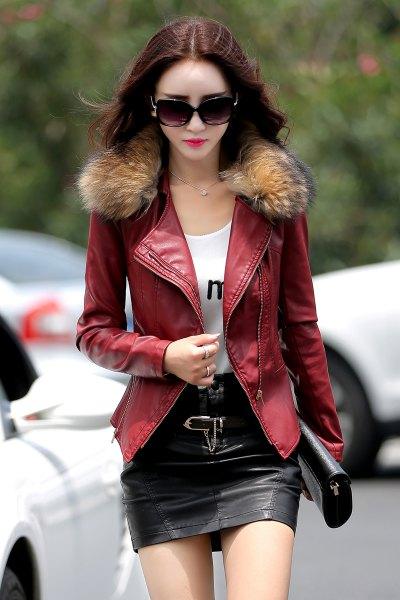brun pälskrage läderjacka svart kjol