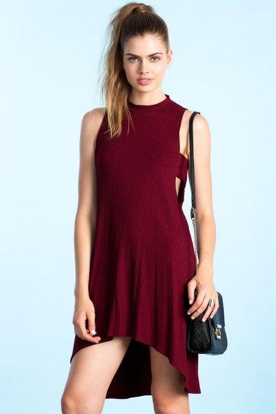 Burgundy Mock Neck High Low Stickad klänning